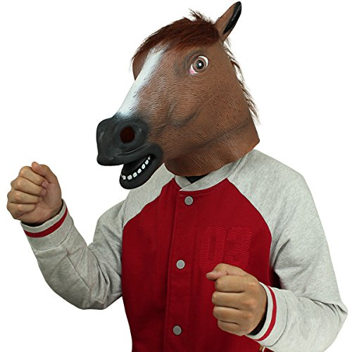 Novelty Latex Rubber Creepy Horse Head Mask Halloween Party Costume Decorations