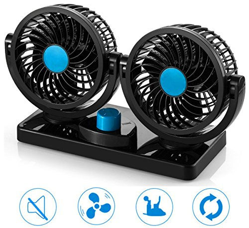 Florally Auto Kfz Ventilator, 12V Auto Kfz Lüfter, Doppellüfter, Gebläse Klimaanlage Fan, vertikal und horizontal einstellbar Ventilator, Leistung 8W/15W