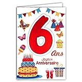 Afie 69-2106 Carte Joyeux Anniversaire 6 ans Enfant Garçon Fille - Gteau 6 Bougies Papillons