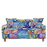 WXQY Funda de sofá elástica en Forma de L, impresión de constelación Adecuada, Antideslizante, Todo Incluido, Funda de sofá, sillón A5 de 3 plazas