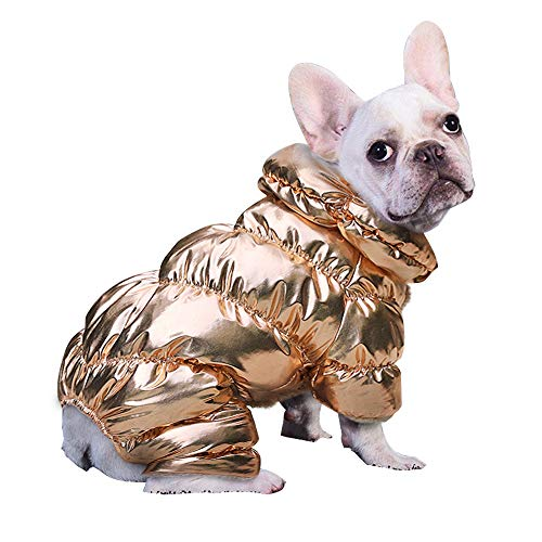 PET ARTIST Winter Puppy Dog Coats for Small Dogs, Cute Warm Fleece Padded Pet Clothes Apparel Clothing for Chihuahua Poodles French Bulldog Pomeranian,Gold,Chest 11.5'