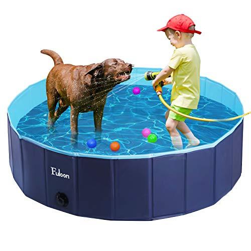 Fuloon Hundepool mit Ablassventil, Faltbarer Hunde Pool Katzenpool Swimmingpool Planschbecken Schwimmbad Hundebadewanne PVC-rutschfest, Verschleißfest (80 * 80 * 20cm, Blue-Blue)