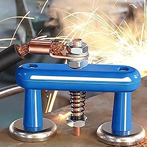 LUDAXUE Abrazadera de soporte de soldadura magnética Actualización de la abrazadera de tierra magnética magnética Magnetismo fuerte Soporte de succión grande con cola de cobre Soldadura Abrazaderas de