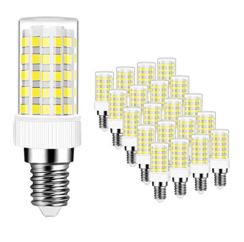 Bombillas LED E14 10W Equivalente a Lámpara Halógeno de 80W, 800 Lúmenes, CRI>80, Blanco Frío 6000K, Bombilla LED E14 10W, No Regulable, 20 Unidades