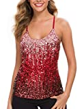 MANER Women's Sequin Tops Glitter Party Strappy Tank Top Sparkle Cami (S/US 4-6, Canyon Rose/Burgundy/Ruby Red)