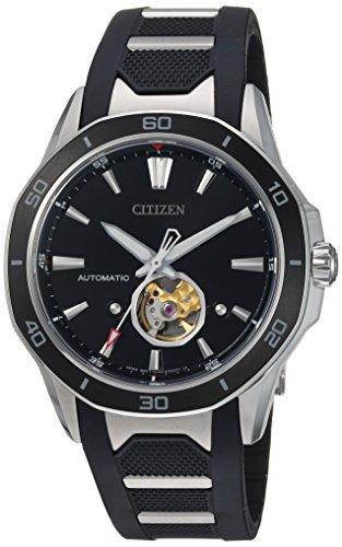 Citizen 'Signature' meccanico vento mano in acciaio INOX e poliuretano orologio da donna, colore: Nero (Model: NB4018–04E)