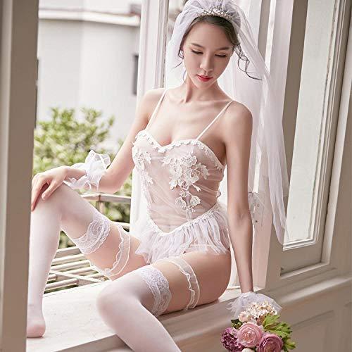 BAKND BH-Hemden für Damen Nachtwäsche & Bademäntel für Damen Sexy Dessous weibliche Netz Gaze Uniform Rücken niedlichen Prinzessin Rock-Anzug + weiße Strümpfe (1627) geeignet für 90-130 kg