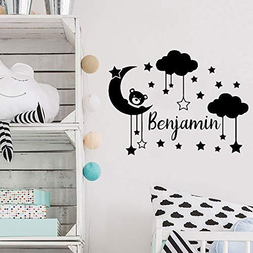 Nombre de etiqueta de la pared de la habitación de la niña oso pequeño de dibujos animados con luna romántica cuento de hadas columpio dormitorio del bebé vinilo extraíble techo calcomanía cielo es