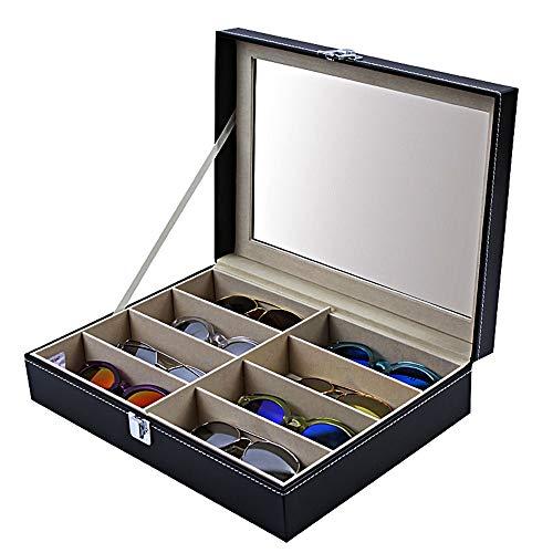 Decorativo Vidrios de la exhibición los relojes de joyería estantería de contenedores caja de las lentes de las gafas de sol Organizador clasificación caja Gafas de almacenamiento Caja de almacenamien