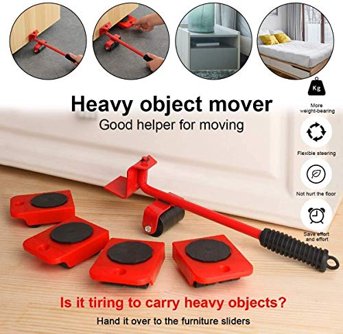 SHOEADDICTS Furniture Lifter Mover Tool Set with Furniture Lifting Tool/Furniture Mover Lifter, Heavy Load Moving Wheels for Furniture Household Furniture Lifter and Rollers Set for Home Appliance