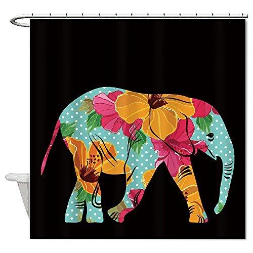 Rioengnakg Duschvorhang, Blumen-Elefant auf schwarzem Hintergr&, wasserdicht, Polyester, Polyester, 1, 72
