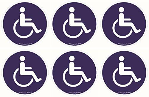 SecurePro Products – 6 Stück 10,2 cm Durchmesser Premium Qualität Behinderten-/Rollstuhl-Symbol ADA konform Handicap Access 3M Vinyl Siebdruck Aufkleber, selbstklebend auf der Rückseite des Aufklebers