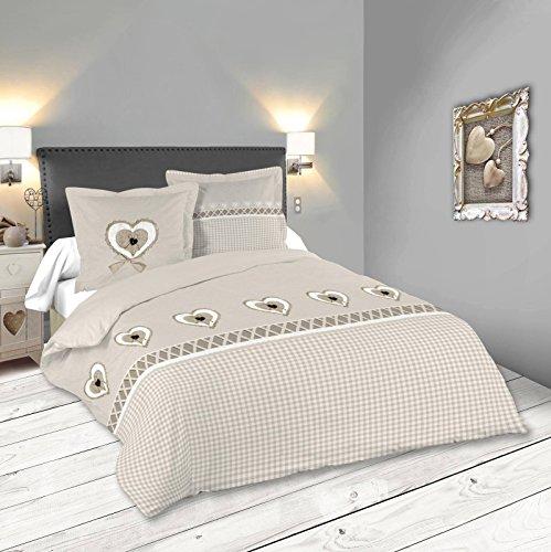 Lovely Casa Francine Housse DE Couette 260X240 CM + 2 TAIES 63X63 CM, Coton, Gris