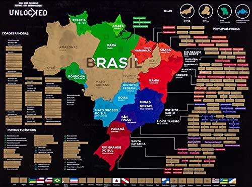Mapa do Brasil de Raspar 82x60 CM | Unlocked | Sem moldura | Scratch off Brazil Map | Mapa Raspadinha