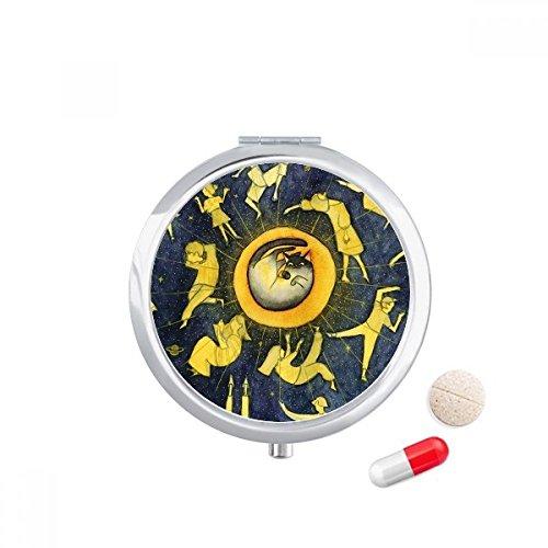DIYthinker Miaoji Schilderij Aquarel Kat Maan Mensen Reizen Pocket Pill Case Medicine Drug Opbergdoos Dispenser Spiegel Gift