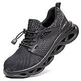 R-Win - Scarpe da ginnastica di sicurezza da uomo e donna, con punta in acciaio, colore: nero e grigio, Grigio (Grigio), 40 2/3 EU