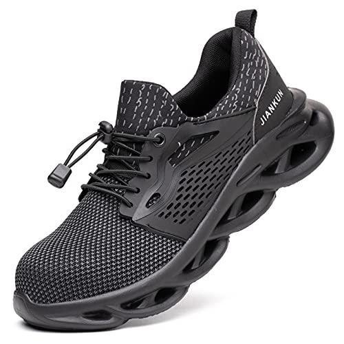 R-Win Entrenadores de seguridad hombres mujeres puntera de acero negro gris ligero zapatos de trabajo senderismo botas anti-aislamiento 6KV protección seguridad zapatos, color Gris, talla 42.5 EU