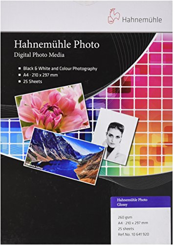 Hahnemühle 10641920 Photo Glossy Papier, 260 g/m², DIN A4, 210 x 297 mm, hellweiß