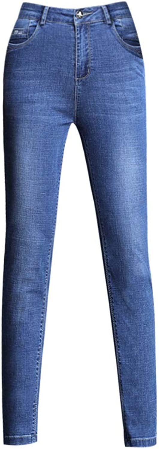 HighWaisted Jeans Women's Slim Stretch Pants Pants Tight Pencil Pants Trousers Abdominal High Waist Does Not Fall Off The Design Pants Length 98103cm (color   bluee, Size   28)