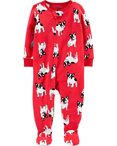 Carter's Little Girls' 1-Piece French Bulldog Fleece Footie Pajamas (4T) Red