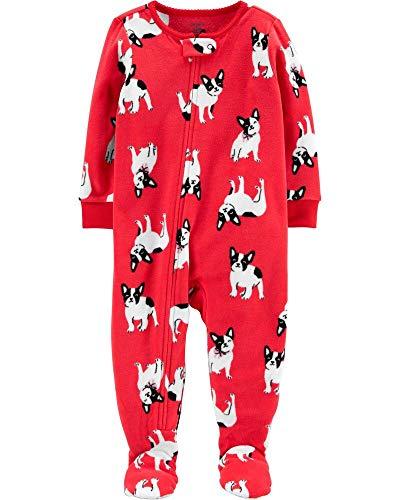 Carter's Little Girls' 1-Piece French Bulldog Fleece Footie Pajamas (3T) Red
