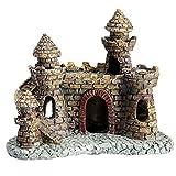 YARNOW Decoración de La Resina de La Casa de Las Cueva del Castillo Antiguo del Ornamento del Acuario de La Arquitectura para El Terrario de La Pecera de Los Reptiles