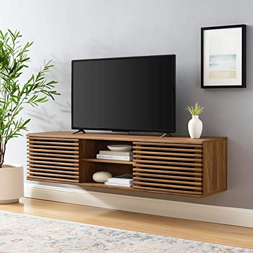"Modway Render 60"" Mid-Century Modern Wall Mount Media Console TV Stand, 60 Inch, Walnut"