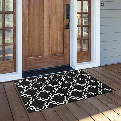 """OJIA Geometric Area Rug, 2x3ft Small Boho Throw Rugs Outdoor Black and White Runner Rug Welcome Door Mats Kitchen Carpet for Entryway Bedroom Living Room (24""""x35"""", Black)"""