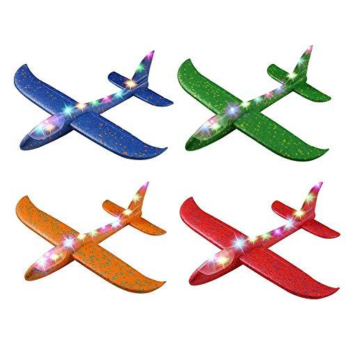 1/4 Stück 48cm Leuchtende Segelflugzeug, Kinder Styroporflieger Flugzeug Spielzeug Outdoor-Sportarten Spielzeug, Hand Werfen Flugzeuge, Modell Schaum Flugzeug für Kinder