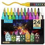 Peinture Acryliques Stylos,RATEL 24 couleurs Marqueur Peinture Acrylique Premium étanche Permanent...
