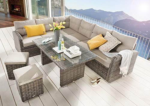 Beauty.Scouts Outdoor Collar Edition DEST Ramiro Corner Group Brown / Beige Set of 5 with Cushions, Lounge Set, Garden Seating Set, Patio Furniture, Garden Furniture Set, Balcony Furniture Set