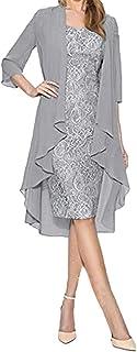 Women Fashion Two Piece Chiffon Cardigan 3/4 Sleeve Loose Dress Retro V Neck Elegant Midi Dress Suits Beach Dress
