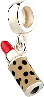 9c7841112 Red Lipstick Charm Dangle with Enamel 925 Sterling Silver Charms Pendant  Fit Bracelet and Necklace