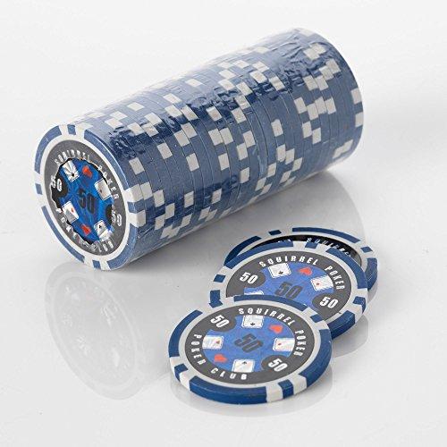 15 g Motif jetons de Poker jeu de Poker Motif écureuil Club 15 g de Poker Couleur : Bleu = valeur $50