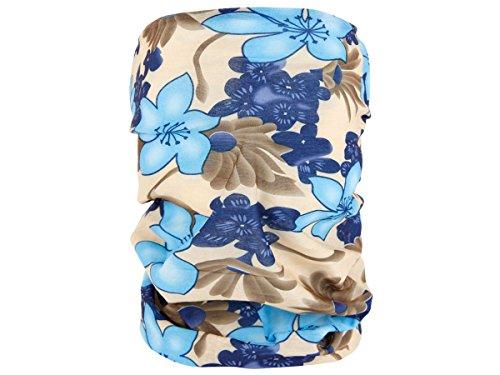 Alsino Multifunktionstuch Schlauchtuch Halstuch Multischal Multiscarf alle Farben, Variante wählen:MF-188 Blumen beige blau