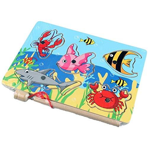 RUK Juguetes educativos 7-15 Piezas Peces de Madera magnética Juego de Juguetes de Pesca Juego de Peces Juguete Educativo de Pesca