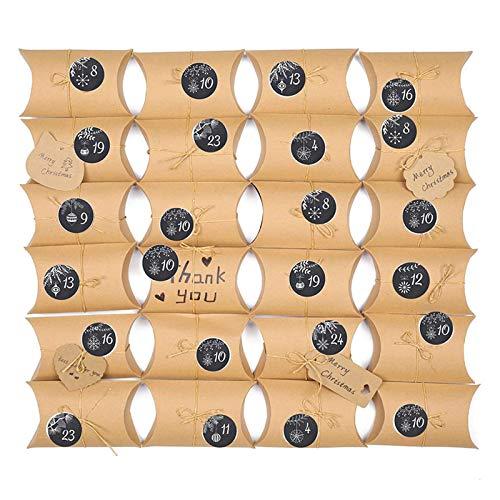 lijun 24 Juegos de Caja de Regalo de Papel con Calendario de Adviento navideño con Forma de Almohada, Caja de Dulces para Galletas DIY con 24 Pegatinas de números, Cuerdas