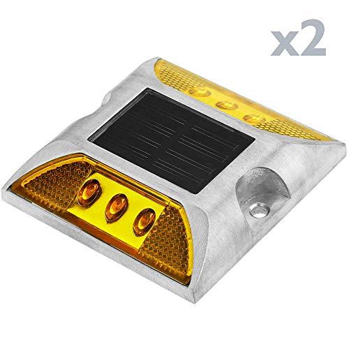 PrimeMatik - Reflector solar LED de carretera. Captafaros para señalización 105x105x20 de aluminio 2-pack