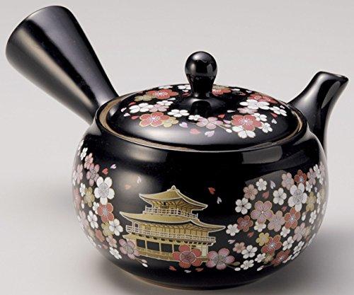 Yamakiikai Tetera japonesa Tokoname Kyusu de cerámica con diseño de flores negras y templo Kinkaku, con colador de acero...