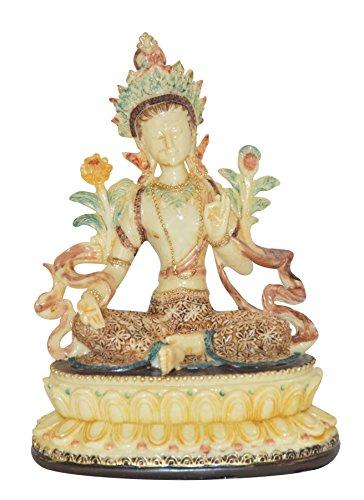 Buddha Statue | Sitzender Buddha Tara | Höhe 17 cm | Elfenbein| Deko-Artikel für Wohnung & Garten |