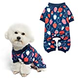 Soft Dog Pajamas - Adorable Dog Apparel Jumpsuit, Cute Pet Clothes Dog Pjs with Fruit Pattern, Fashionable Lightweight Puppy Jumpsuit for Small Medium Dog Wearing - Strawberry