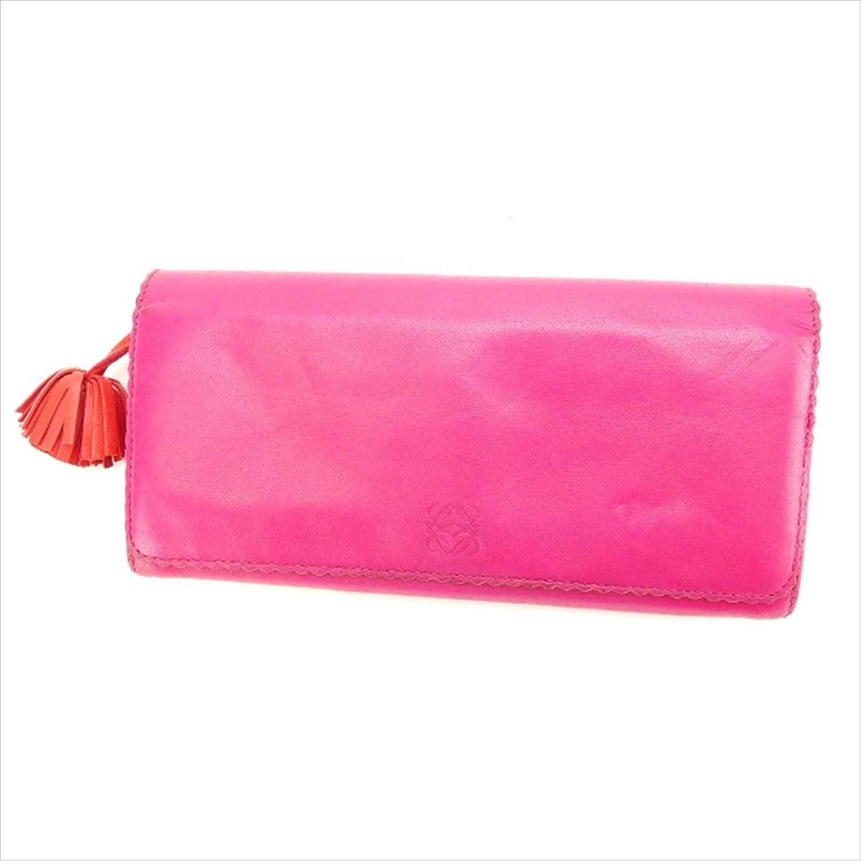 (ロエベ) Loewe 長財布 ファスナー 二つ折り ピンク×シルバー系 スカラップパイピング アナグラム レディース 中古 K270