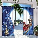 Cortinas de Santa para patio al aire libre, con diseño de reno en el cielo medianoche con luna llena, para dormitorio, sala de estar, porche, pérgola, 120 x 72 pulgadas, azul marino multicolor