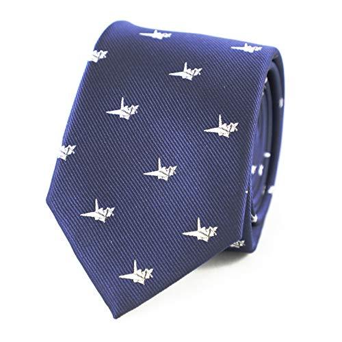 URNOFHW Cumpleaños del día del patrón de Microfibra Jacquard Corbata de la grúa de Origami Grúa de Papel del Lazo del Padre Regalo del Lazo (Color : Blue)