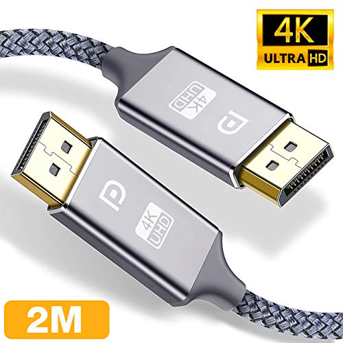 4K DisplayPort Kabel 2M,DisplayPort auf DisplayPort Kabel,ALCLAP DP zu DP Kabel(4K@60Hz, 2K@144Hz) Nylon Geflecht Ultra Highspeed DisplayPort-Kabel für PC,TV,Beamer,Monitor,Grafikkarten(Grau)