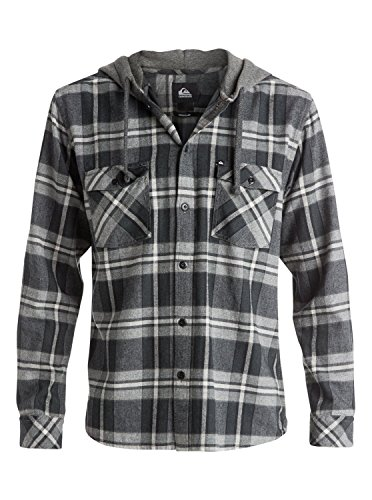 Quiksilver Men's Snap Up Long Sleeve Shirt, Anthracite, Small