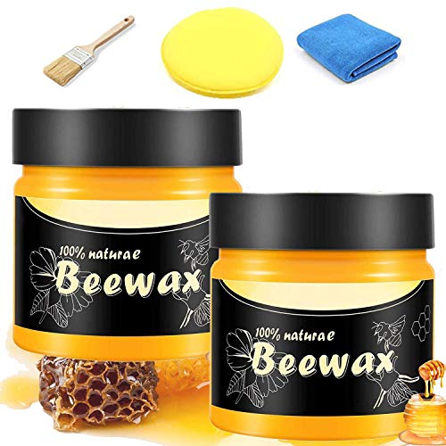 2 SUFFICIENT SET Beeswax Furniture Polish, US-SAK Organic Wood Seasoning Beeswax for Furniture, Wood Tables, Chairs, Cabinets. Include Brush, Sponge, Cotton Towel