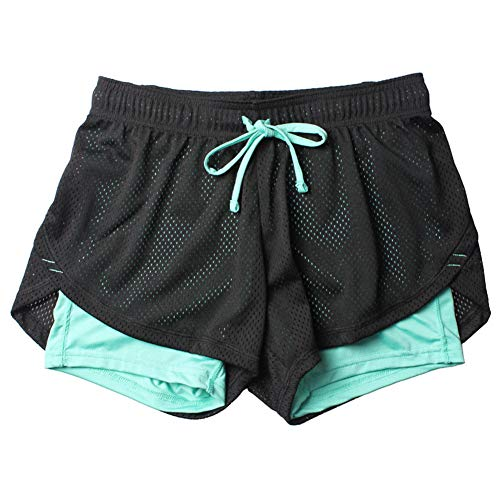 Fansi - Pantalones cortos deportivos para mujer, de doble capa, poliéster, para yoga, correr, para verano, color azul, poliéster, azul, Medium