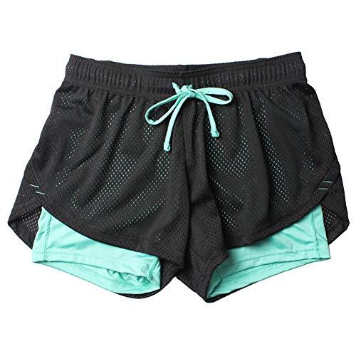 Fansi - Pantalones cortos deportivos para mujer, de doble capa, poliéster, para yoga, correr, para verano, color azul, poliéster, azul, Small