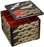 若泉漆器 3段重箱 6.5寸重 黒内朱塗日の出鶴 1-459-41